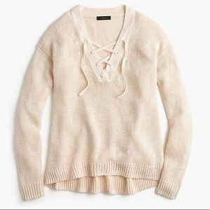 J Crew Linen Lace Up Sweater Size Small